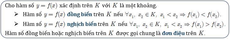 Định nghĩa hàm số đơn điệu