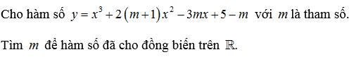 hàm số đồng biến nghịch biến trên một khoảng