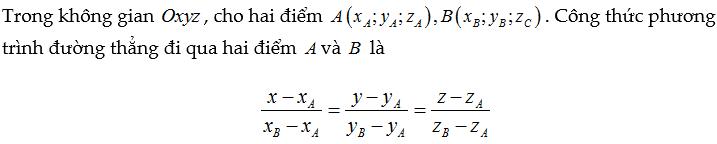 Viết phương trình đường thẳng qua 2 điểm Oxyz