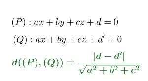 cách tính khoảng cách giữa 2 mặt phẳng