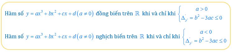 Điều kiện để hàm số bậc 3 đồng biến trên r