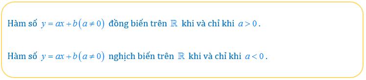 điều kiện để hàm số y=ax+b đồng biến