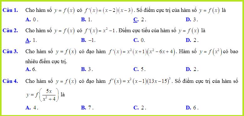 Câu hỏi trắc nghiệm cực trị của hàm số