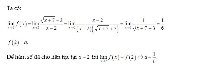 tìm a để hàm số liên tục tại 1 điểm