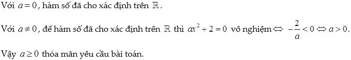 tìm a để hàm số xác định trên khoảng