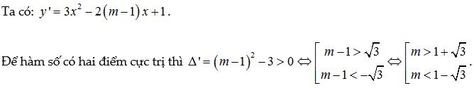 tìm m để hàm số có cực trị trong khoảng