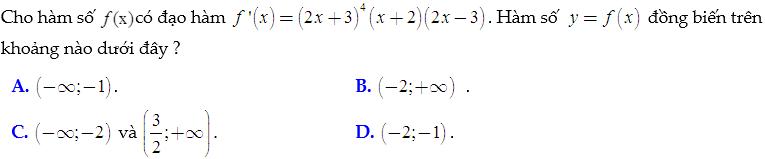 Bài tập trắc nghiệm tính đơn điệu hàm số