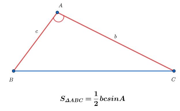 Tính diện tích tam giác dùng sin