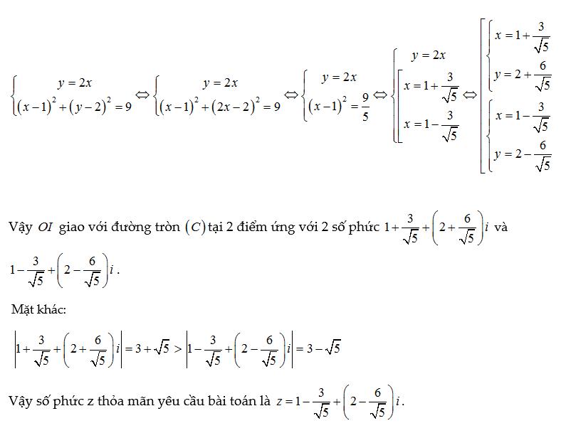 cho số phức z thỏa mãn tìm giá trị lớn nhất của biểu thức t