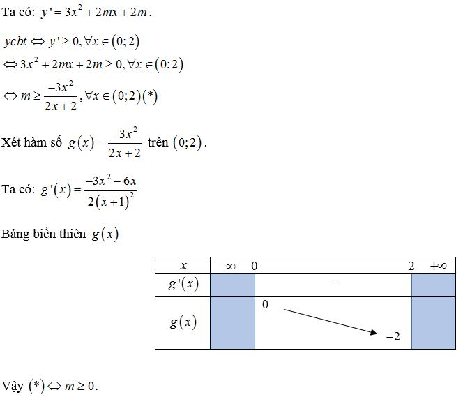 tìm m để hàm số đồng biến trên khoảng (a b)