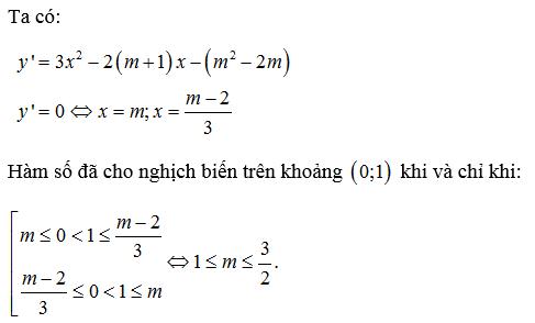 tìm m để hàm số nghịch biến trên khoảng (a b)