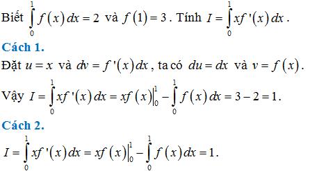 bài tập tích phân từng phần có lời giải