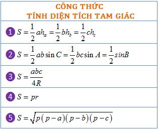 công thức tính diện tích tam giác hệ thức lượng trong tam giác