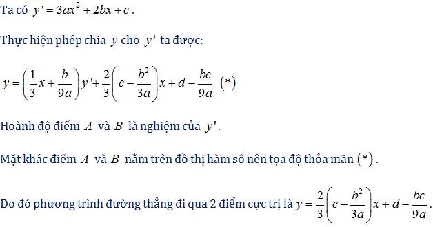 công thức phương trình đường thẳng qua 2 điểm cực trị