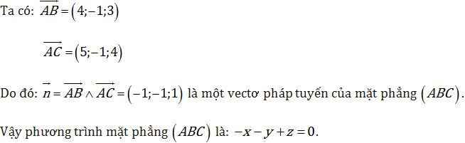 phương trình mặt phẳng đi qua 3 điểm