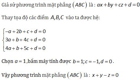 viết phương trình mặt phẳng đi qua ba điểm